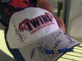 Minnesota Twins fan meets Minnesota Twins players and Hall of Fame Members while another delivers play-by-play